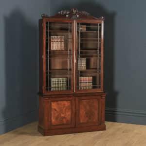 Antique English William IV Figured Mahogany Two Door Glazed Library Office Bookcase Cupboard (Circa 1835) - yolagray.com