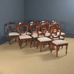 Antique English Victorian Set of 12 Twelve Mahogany Balloon Crown Back Dining Chairs (Circa 1860) - yolagray.com