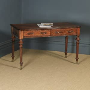 Antique English Victorian Flame Satinwood Console Side Writing Table Desk (Circa 1860) - yolagray.com