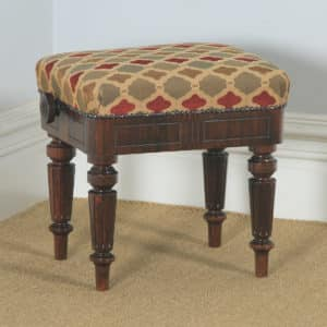 Antique English Victorian Rosewood Upholstered Rise & Fall Height Adjustable Stool (Circa 1850) - yolagray.com
