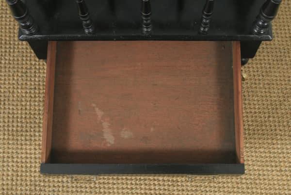 Antique English Victorian Walnut Black Ebonised Canterbury Magazine Rack Tidy (Circa 1870)