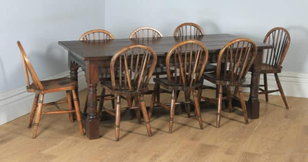 """Antique English 17th Century Charles II 6ft 3"""" Solid Oak Farmhouse Kitchen Refectory Dining Table (Circa 1680) - yolagray.com"""