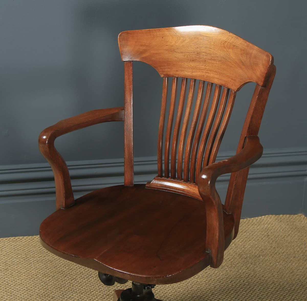 Edwardian Office Chair Solid Walnut Revolving Yola Gray Antiques
