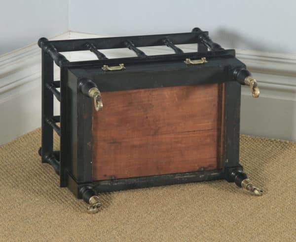 Antique English Victorian Walnut Black Ebonised Canterbury Magazine Rack Tidy (Circa 1870) - yolagray.com