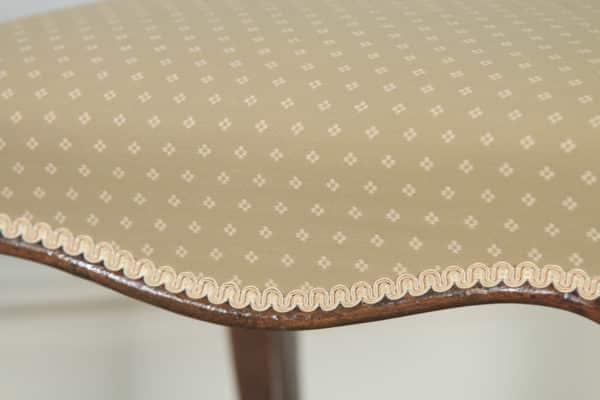 Antique English Victorian Walnut Upholstered Dressing / Foot Stool (Circa 1870) - yolagray.com