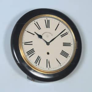 Antique 16″ Mahogany Ansonia Railway Station / School Round Dial Wall Clock (Timepiece) - yolagray.com
