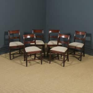 Antique English Georgian Regency Set of Six Flame Mahogany Bar Back Dining Chairs (Circa 1830) - yolagray.com