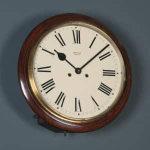 Antique 15″ Mahogany Smiths Enfield Railway Station / School Wall Clock (Chiming) - yolagray.com