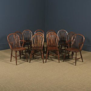 Antique English Set of 12 Victorian Ash & Elm Windsor Stick & Hoop Back Kitchen Chairs (Circa 1880 - 1920) - yolagray.com