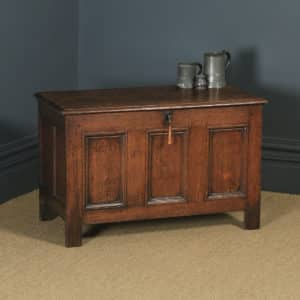 Antique English 18th Century Georgian Oak Joined Triple Panel Coffer Chest Blanket Box (Circa 1780) - yolagray.com