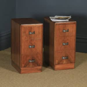 Antique English Pair of Art Deco Walnut Bedside Chests / Cabinets (Circa 1940) - yolagray.com