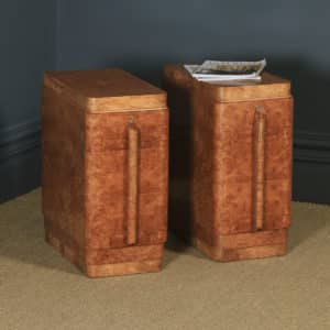 Antique English Pair of Art Deco Burr Maple & Walnut Bedside Chests / Tables / Cabinets (Circa 1930) - yolagray.com