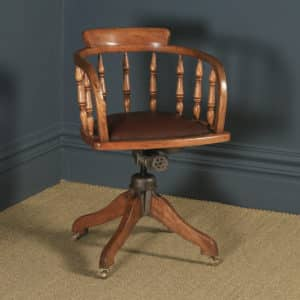 Antique English Edwardian Solid Ash & Brown Leather Revolving Office Desk Arm Chair (Circa 1910) - yolagray.com