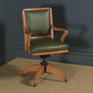 Antique English Edwardian Solid Oak & Sage Green Leather Revolving High Back Office Desk Arm Chair (Circa 1910) - yolagray.com