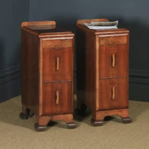Antique English Pair of Art Deco Figured Walnut Bedside Chests / Cabinets (Circa 1930) - yolagray.com