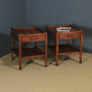 English Pair of Georgian Style Mahogany Tray Top Whatnot Bedside Lamp Tables (Circa 1970) - yolagray.com