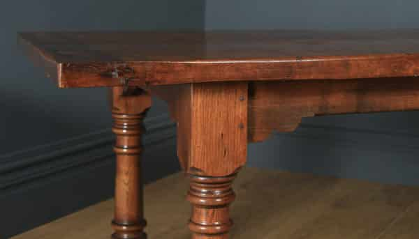 """English 17th Century Style 6ft 7"""" Solid Burr Oak Farmhouse Kitchen Refectory Table Seats 8-10 People (Circa 1930) - yolagray.com"""