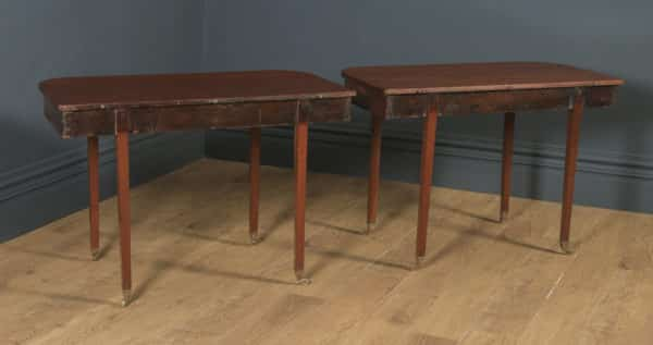 Antique English Georgian Solid Mahogany Round / Extendable D End Drop Leaf Dining Table Seats 12 Persons (Circa 1820) - yolagray.com