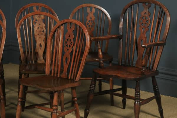 Antique English Set Of 10 Ash & Elm Windsor Wheel Back Kitchen Dining Chairs (Circa 1900 - 1930) - yolagray.com