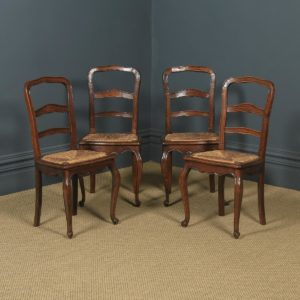 Antique French Set of 4 Four Louis XV Style Oak Ladder Back Kitchen Dining Chairs (Circa 1910) - yolagray.com