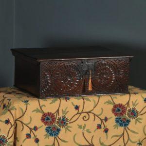 Antique English 17th Century Solid Oak Bible / Writing Box / Trunk / Chest (Circa 1680 – 1700) - yolagray.com