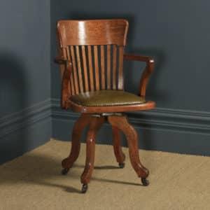 Antique English Edwardian Solid Oak & Green Leather Revolving Office Desk Arm Chair (Circa 1910) - yolagray.com