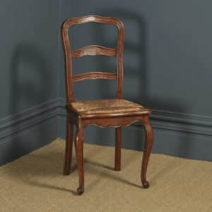 Antique French Louis XV Style Oak Ladder Back Kitchen Dining Chair (Circa 1910) - yolagray.com