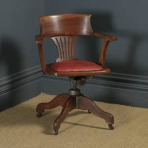 Antique English Edwardian Solid Oak & Red Leather Revolving Office Desk Arm Chair (Circa 1910 - 1920) - yolagray.com