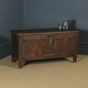 Antique English 17th Century Charles II Oak Carved Three Panel Coffer Chest Blanket Box Trunk (Circa 1680) - yolagray.com