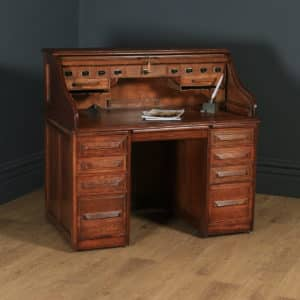 "Antique English Edwardian 4ft 2"" Solid Oak Roll Top Pedestal Office Desk (Circa 1910) - yolagray.com"