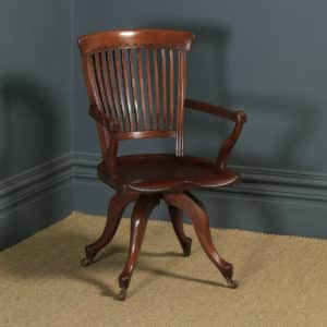 Antique English Victorian Mahogany Revolving High Back Office Desk Arm Chair (Circa 1880) - yolagray.com