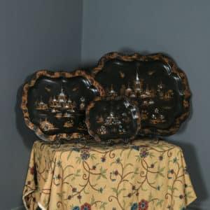 Antique English Set of 3 Three Victorian Ebonised Chinoiserie Papier Mâché Butlers Drinks Trays (Circa 1840) - yolagray.com