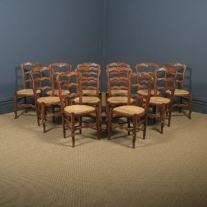 Antique French Set of 12 Twelve Louis XV Style Oak Ladder Back Kitchen Dining Chairs (Circa 1920) - yolagray.com