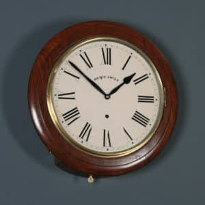 """Antique 16"""" Mahogany Anglo Swiss Railway Station / School Round Dial Wall Clock (Timepiece) - yolagray.com"""