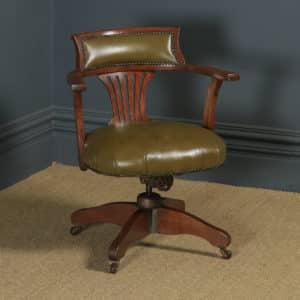 Antique English Edwardian Oak & Sage Green Leather Revolving Office Desk Arm Chair (Circa 1920) - yolagray.com