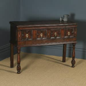 Antique English Victorian Jacobean Style Oak Geometric Dresser Base Sideboard (Circa 1880) - yolagray.com