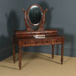 Antique Anglo-Indian Victorian Colonial Teak Dressing Table with Mirror (Circa 1870) - yolagray.com