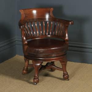 Antique English Victorian Mahogany & Brown Leather Revolving Office Desk Arm Chair (Circa 1880) - yolagray.com