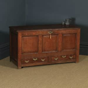 Antique English Georgian Panelled Oak Mule Chest / Blanket Box / Trunk with Drawers (Circa 1760) - yolagray.com