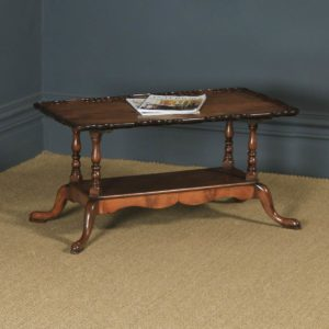 Antique English Queen Anne Style Flame Mahogany Rectangular Coffee Table (Circa 1960) - yolagray.com