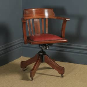 Antique English Edwardian Solid Mahogany & Red Leather Revolving Office Desk Arm Chair (Circa 1910 - 1920) - yolagray.com