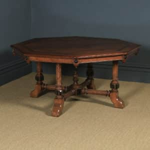 Antique English Victorian Aesthetic Ash Inlaid & Carved Octagonal Library / Dining Table (Circa 1880) - yolagray.com