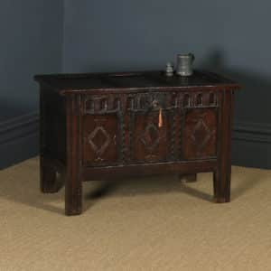 Antique English Charles II Oak Carved Triple Panel Coffer Chest Blanket Box (Circa 1670) - yolagray.com