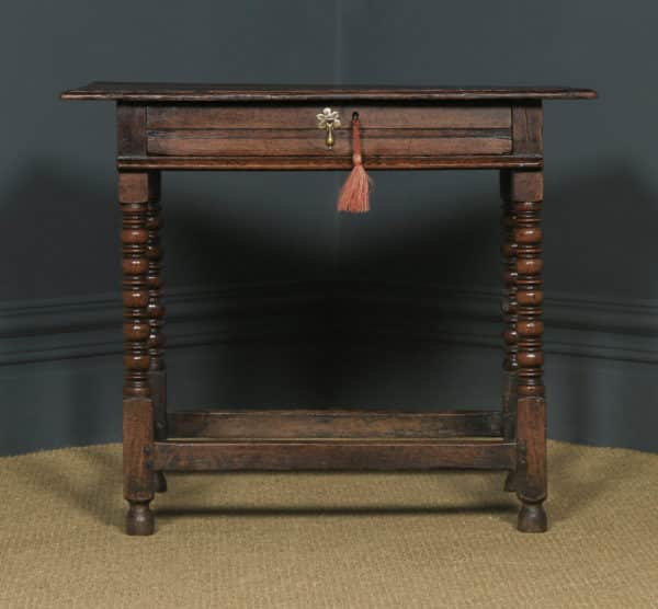 Antique English 17th Century Charles II Oak Occasional Side Hall Writing Table (Circa 1660) - yolagray.com