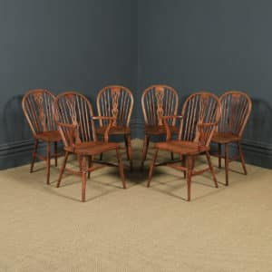 Antique Set of Six Ash & Elm Windsor Wheel & Fiddle Back Kitchen Chairs (Circa 1840) - yolagray.com