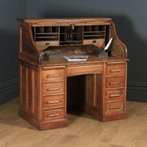 Antique English Edwardian 4ft Solid Oak Roll Top Pedestal Office Desk (Circa 1910) - yolagray.com
