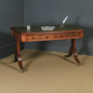"Antique English Georgian Regency 4ft 6"" Mahogany & Leather Library Desk Sofa Table (Circa 1820) - yolagray.com"