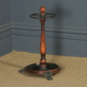 Antique English Victorian Solid Mahogany & Cast Brass Stick & Umbrella Hall Stand (Circa 1850) - yolagray.com
