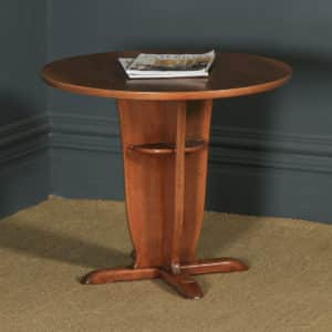Art Deco English Walnut & Mahogany Circular Centre Coffee Occasional Side Table (Circa 1940) - yolagray.com