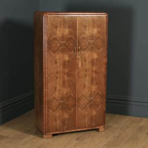 Antique Scottish Art Deco Burr Walnut Two Door Compactum Wardrobe By A&W Stewart (Circa 1930) - yolagray.com